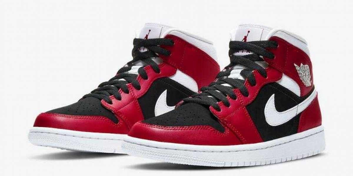 Online Sale Latest Air Jordan 1 Mid WMNS Gym Red White-Black