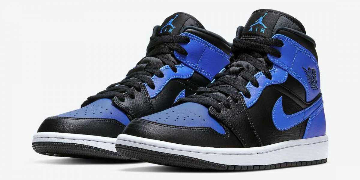 "Nike Air Jordan 1 Mid ""Hyper Royal"" Basketball Shoes 554724-077 To Buy Jordansaleuk.com"