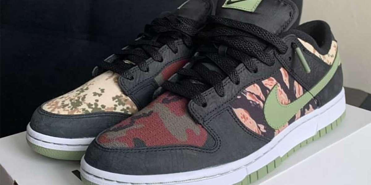 "Latest 2021 Nike Dunk Low SE ""Camo"" Skateboard Shoes"
